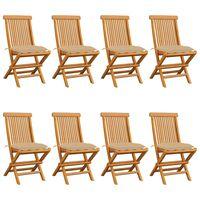vidaXL 8 db tömör tíkfa kerti szék bézs párnával