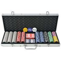vidaXL pókerkészlet 500 lézeres alumíniumzsetonnal