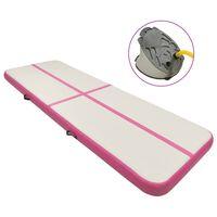 vidaXL rózsaszín PVC felfújható tornamatrac pumpával 500 x 100 x 15 cm