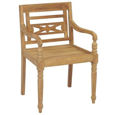 vidaXL 8 db tömör tíkfa Batavia szék párnákkal