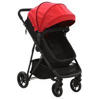 vidaXL piros és fekete 2 az 1-ben acél babakocsi/gyermekkocsi