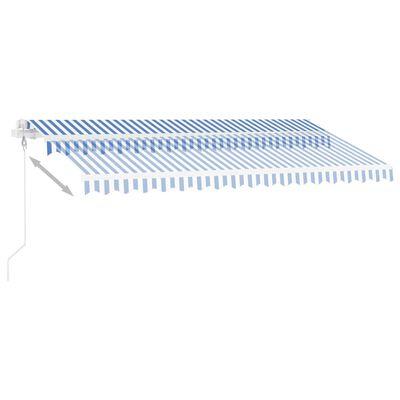 vidaXL kék-fehér automata szélérzékelős és LED-es napellenző 450x350cm