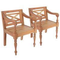 vidaXL 2 db világosbarna tömör mahagóni Batavia szék