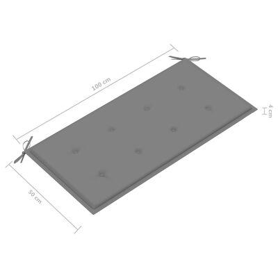 vidaXL tömör tíkfa kerti pad szürke párnával 112 cm