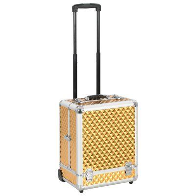 vidaXL aranyszínű alumínium sminkbőrönd 35 x 29 x 45 cm
