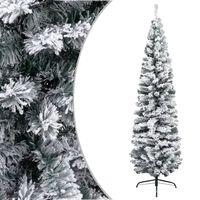 vidaXL zöld vékony PVC műkarácsonyfa pelyhes hóval 240 cm
