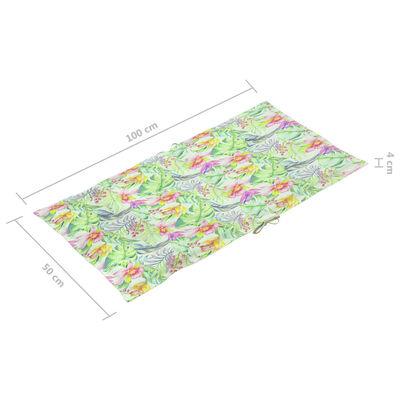 vidaXL 2 db levélmintás kerti székpárna 100 x 50 x 4 cm