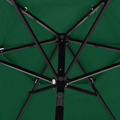 vidaXL 3 szintes zöld napernyő alumíniumrúddal 2,5 m