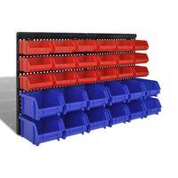 Garázs műanyag tároló  készlet 30 db kék és piros