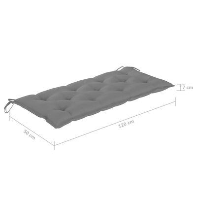 vidaXL tömör tíkfa kerti pad szürke párnával 120 cm