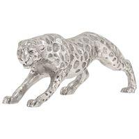 vidaXL ezüstszínű tömör alumínium jaguár szobor 50 x 10 x 14 cm