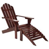vidaXL barna fa kerti szék zsámollyal