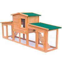 vidaXL nagyméretű fa nyúlketrec kisállatok számára, tetővel