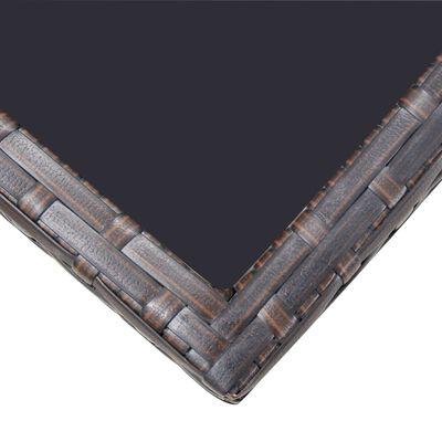 vidaXL 5-részes barna kültéri polyrattan étkezőszett párnákkal