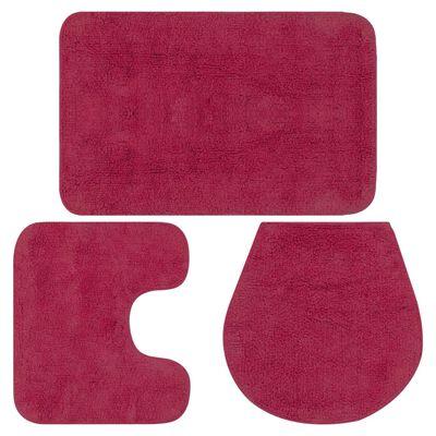 vidaXL 3 darabos fuksziaszínű szövet fürdőszobaszőnyeg-garnitúra