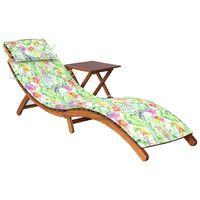 vidaXL tömör akácfa kerti napozóágy asztallal és párnával
