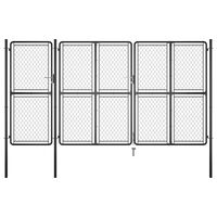 vidaXL antracitszürke acél kertkapu 150 x 395 cm