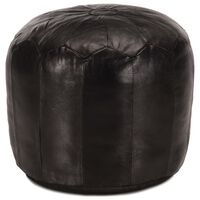 vidaXL fekete valódi kecskebőr puff 40 x 35 cm