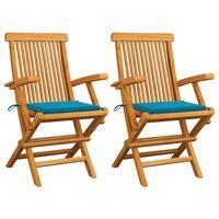 vidaXL 2 db tömör tíkfa kerti szék kék párnával