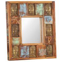 vidaXL tömör újrahasznosított fa tükör Buddha burkolattal 50 x 50 cm