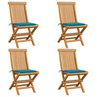 vidaXL 4 db tömör tíkfa kerti szék kék párnával
