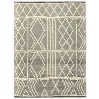 vidaXL fekete-fehér kézzel szőtt gyapjúszőnyeg 140 x 200 cm