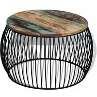 vidaXL kerek tömör újrahasznosított fa dohányzóasztal 68 x 37 cm