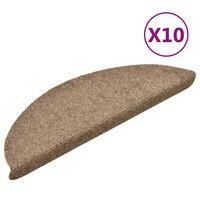 vidaXL 10 db krémszínű tűlyukasztott öntapadó lépcsőszőnyeg 56x17x3 cm