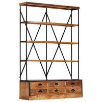 vidaXL 4-szintes tömör mangófa könyvespolc 6 fiókkal 122 x 36 x 181 cm