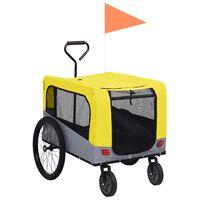 vidaXL sárga/szürke 2 az 1-ben bicikliutánfutó és sétakocsi