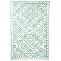 Esschert Design zöld és fehér csempe mintás kültéri szőnyeg 182x122 cm