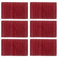 vidaXL 6 darab burgundi vörös pamut rongyalátét 30 x 45 cm