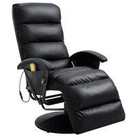 vidaXL fekete dönthető masszírozó műbőr TV-fotel