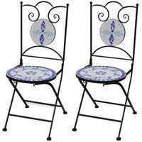 vidaXL 2 db kék és fehér összecsukható kerámia kerti szék
