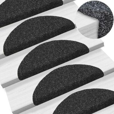 vidaXL 15 db fekete, öntapadós lépcsőszőnyeg 54 x 16 x 4 cm