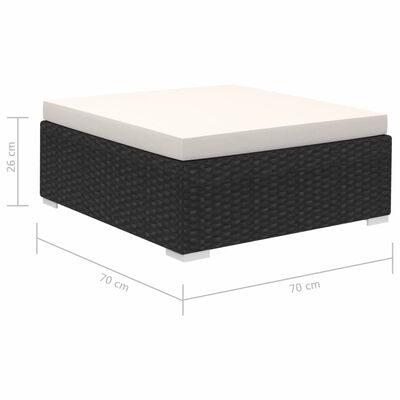 vidaXL 12-részes fekete polyrattan kerti bútorszett párnákkal