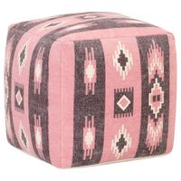 vidaXL rózsaszín nyomott mintás kocka alakú puff