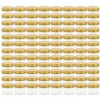 vidaXL 96 db 110 ml-es befőttesüveg aranyszínű tetővel
