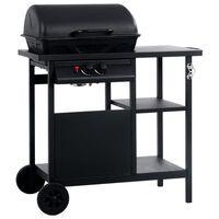 vidaXL fekete gáz grillező 3 szintes kisasztallal