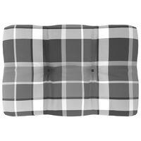 vidaXL szürke kockás raklapkanapé-párna 60 x 40 x 12 cm