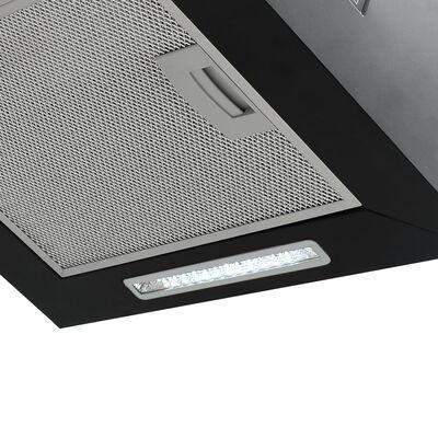 vidaXL porszórt acél LCD érintőképernyős sziget páraelszívó 55 cm, Fekete