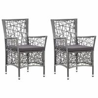 vidaXL 2 db szürke polyrattan kültéri szék párnával