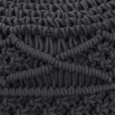vidaXL antracitszürke kézzel készült makramé pamutpuff 45 x 30 cm