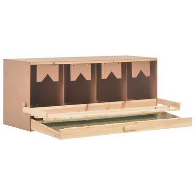 vidaXL 4 rekeszes tömör fenyőfa tojófészek 106 x 40 x 45 cm