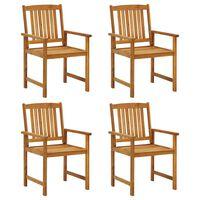 vidaXL 4 db tömör akácfa rendezői szék