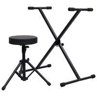 vidaXL fekete billentyűzetállvány és szék