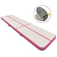 vidaXL rózsaszín PVC felfújható tornamatrac pumpával 800 x 100 x 15 cm