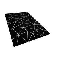 Elegáns Fekete Szőnyeg Geometrikus Ezüst Mintával 140 x 200 cm HAVZA