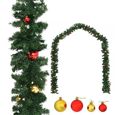 vidaXL karácsonyi füzér díszekkel 20 m