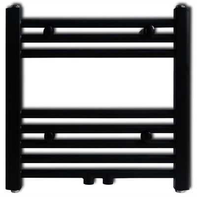 Ívelt fekete törölközőszárító radiátor központi fűtéssel 600 x 1424 mm
